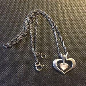 Vintage sterling silver heart MOP necklace